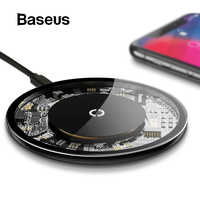 Baseus Thin Wireless Charger Pad For iPhone X Xs Max Samsung S9 Note9 Glass Panel Visible Wireless Phone Charger For Xiaomi MI9