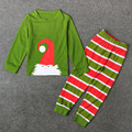 Green Color Santa Claus Tops + Striped Pants Children Pajamas Sleepwear Casual Costume Roupas De Menino New Boys Christmas Sets