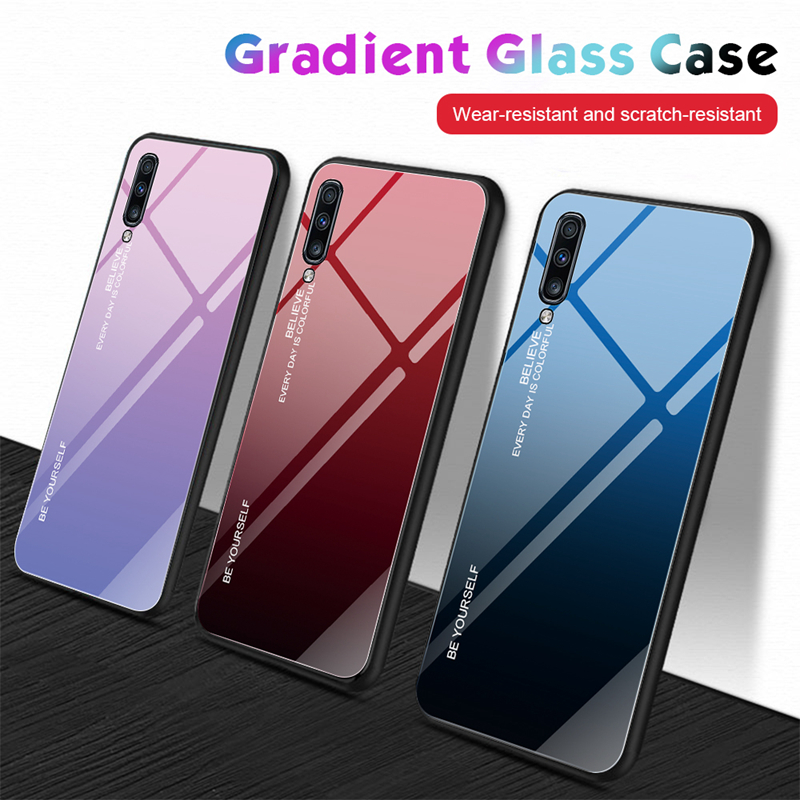 Glass Cases For <font><b>Samsung</b></font> <font><b>A50</b></font> A70 Case Glossy Tempered Glass Silicone Frame Hard <font><b>Back</b></font> <font><b>Cover</b></font> For <font><b>Samsung</b></font> A30 A10 A20 A40 A60 Cases image