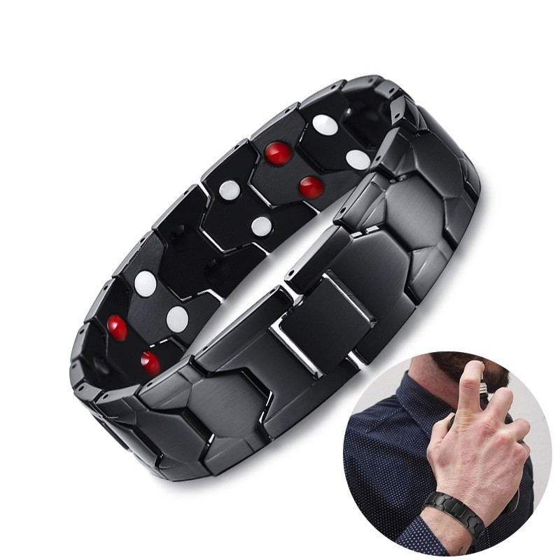 Men Bio Magnetic Bracelet Stainless Steel Health Energy Bracelet in Black Men Bio Magnetic Bracelet Stainless Steel Health Energy Bracelet in Black