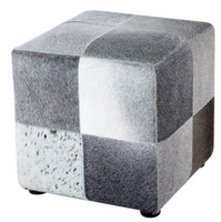 Natural Patchwork Cowhide Fur Ottoman Square Foot Pedal Coffee Table Real Leather Animal Skin Stools