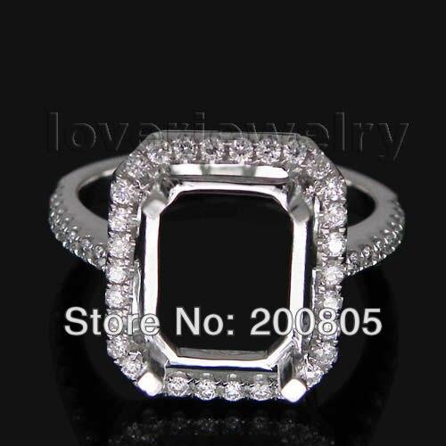 Bague Vintage en or blanc taille émeraude 8x10mm 18Kt avec diamants WU041