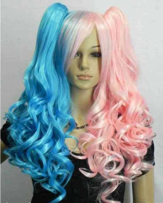 Wig New Long Wavy Blue + Pink Mix Split Type Cosplay Wig with 2 Ponytails Free Shipping