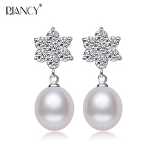 Fashion Pearl Earrings For Women Snowflake Water stud Freshwater 925 Sterling Silver Jewelry