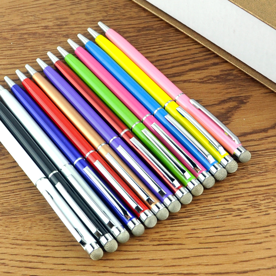 100Pcs/lot 11 Color Black Gold White Blue Roller Metal Ballpoint Pen 0.7mm 2in1 Fiber Point Stylus Gift Can Custom Your Logo