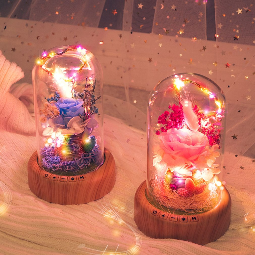 ICOCO Streamer Bottle Wireless Bluetooth Speaker Rechargeable LED Night Light With Flower in Glass Home Decoration Table Lamp