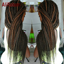 AliRobam Сенегальские крученые вязанные волосы Омбре коричневые косички низкотемпературное волокно синтетические косички волосы для наращивания 22 корня/упаковка