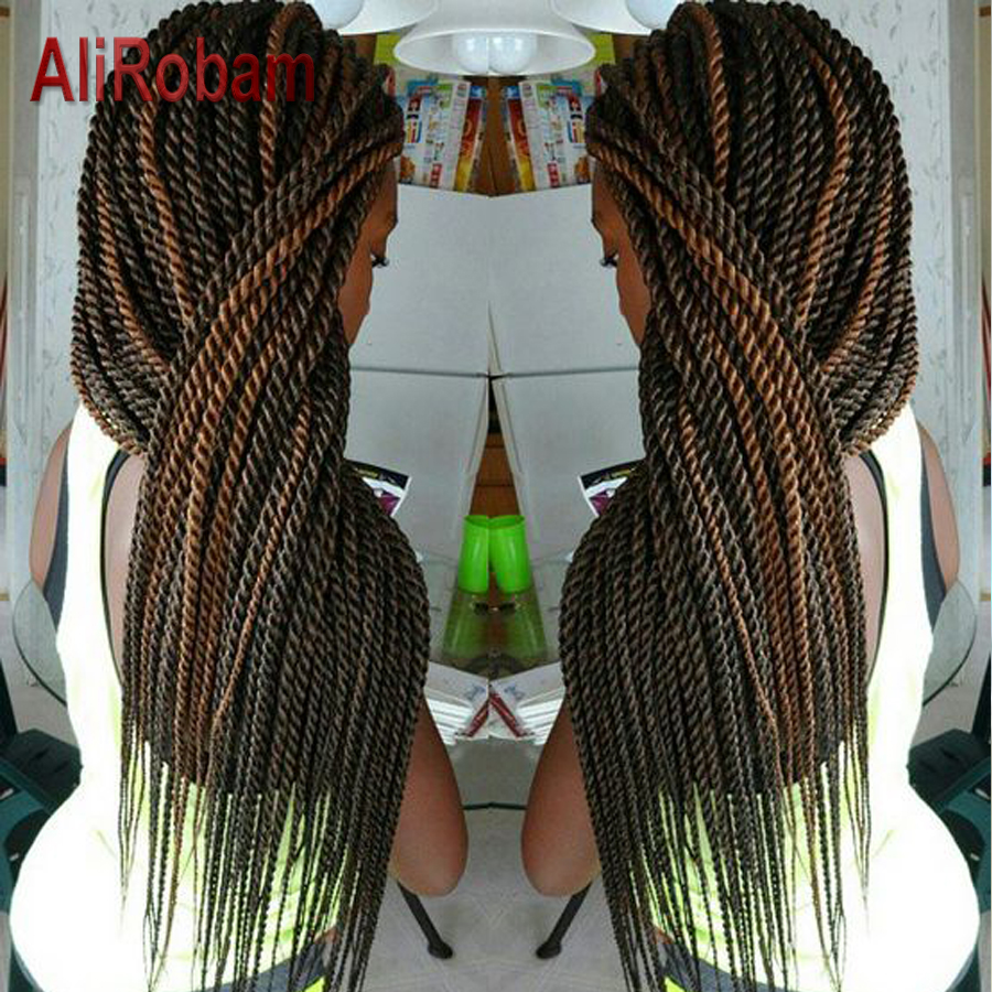 AliRobam Senegalese Twist Crochet Hair Ombre Brown Braids Low Temperature Fiber Synthetic Braiding Hair Extensions 22Roots/pack
