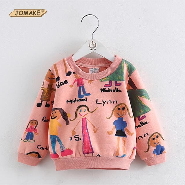 2017 New Children Fashion Hoodies Girls Warm Sweatshirts Kids Cute Cartoon Graffiti Sweater Children Tops Costume Baby Clothes