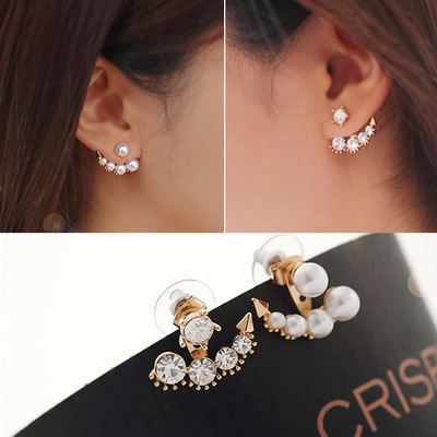 Factory price wholesal Women Earrings Viennois Trendy Coffee/Rose  Simulated Pearl Stud white pearl Earring chain