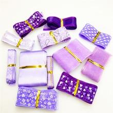 10y/style 6-40mm Random purple Mixed Printed Organza Ribbons Headwear Materials DIY Sewing Accessories