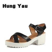 Women Platform Sandals Plus Size 45 Gladiator Woman Open Toe Shoes Summer Style Hollow Out Weave