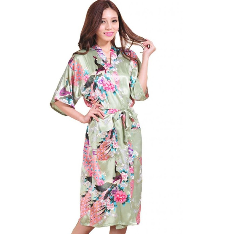 High Fashion Light Green Chinese Bride Wedding Robe Gown Women Rayon Nightwear Sexy Kimono Bath Gown Size S M L XL XXL XXXL Z012