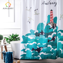 Aimjerry Navy and White nautical Waterproof  Fabric  Bathtub Bathroom Shower Curtain Liner with 12 Hooks Mildewproof 2017