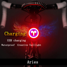 Cycling Lights Waterproof Usb  Charging  6 Modes Safety Warning Light 12 zodiac signs Bicycle  Tail Lamp e smart plug in bicycle laser tail lights safety warning lights