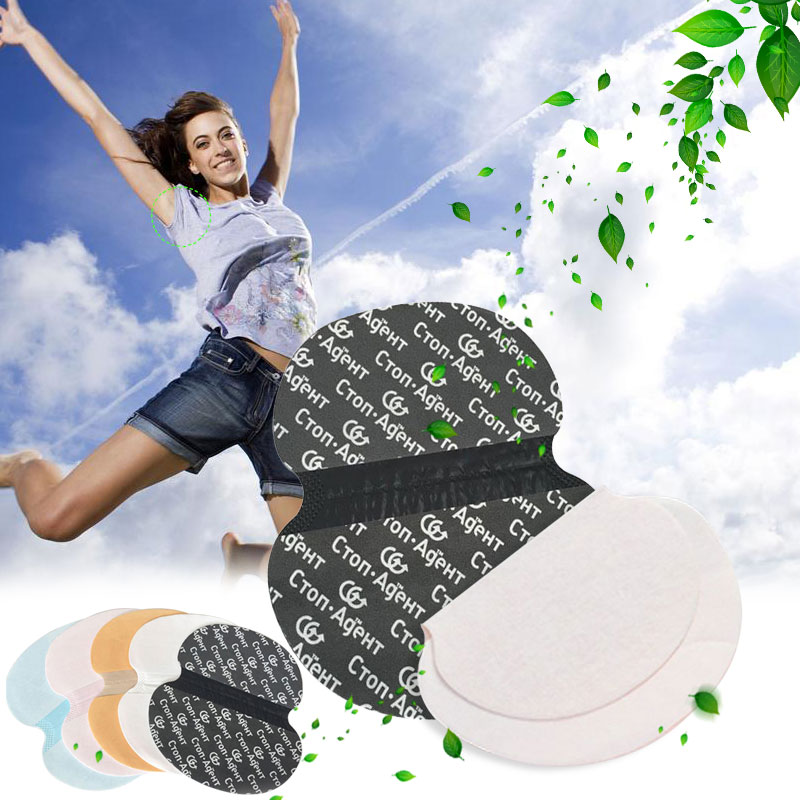 10pcs White+10pcs Black Disposable Armpit Sweat Pads Underarms Gaskets From Sweat Absorbing Pads Deodorants Women Armpit Linings