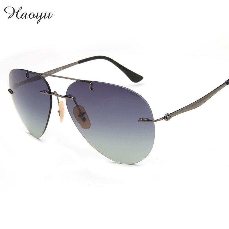 haoyu New RB8055 fashion Polaroid lenses lightest sun glasses 12 G rimless unisex sunglasses Oculos De Sol Feminino Gafas