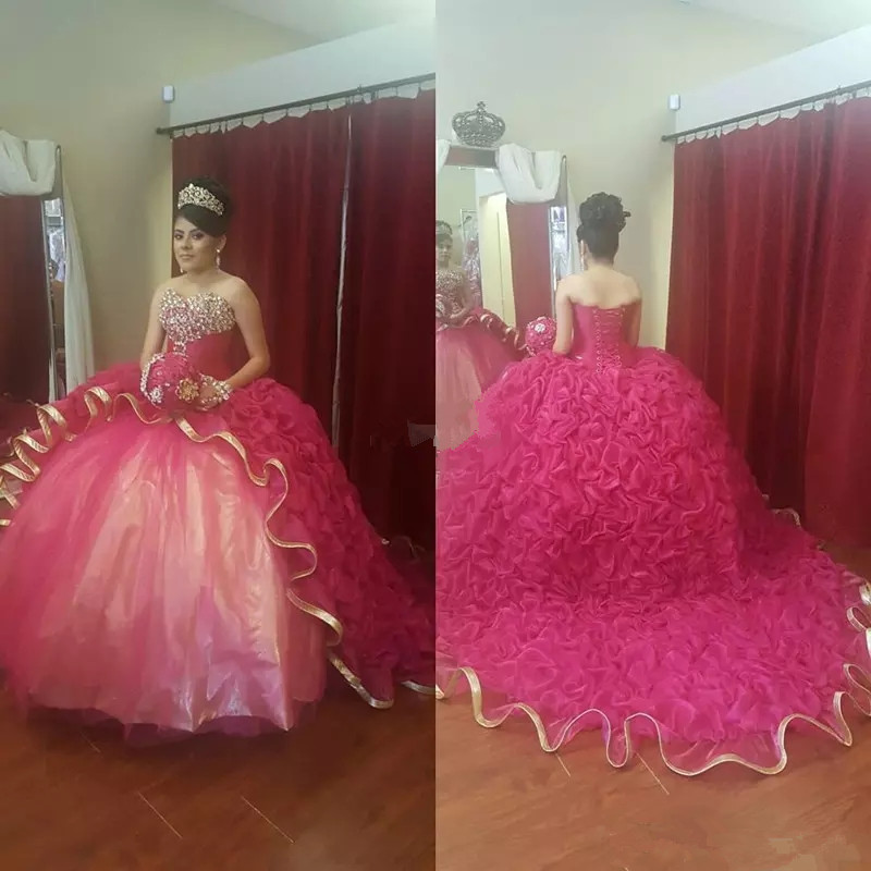 Ball-Gown Prom-Dresses Puffy-Train Anos Sweet 16 Gold-Edge Vestidos-De-15 Beaded Girls