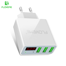 FLOVEME 3 Ports USB Phone Charger Total Output 3A EU US Plug LED Screen Smart Portable Mobile Phone Charger for iPhone Tablet PC