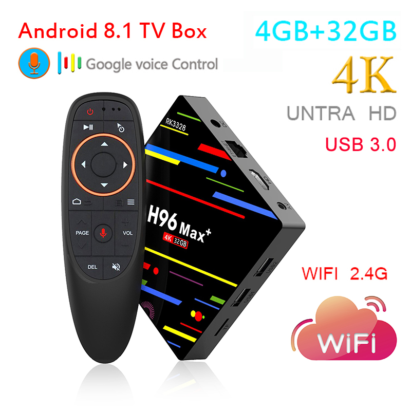 H96 MAX Plus Android 8.1 TV Box New 2018 Smart Box 4GB 32GB 1080P 4K 3D Google Player 2.4G WIFI Voice Control USB 3.0 TV Box