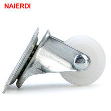 NAIERDI-roues pivotantes universelles, 1 pouce, 10Kg, 4 pièces, en Nylon PP blanc, roulements à double rouleaux pour chariot à plate-forme