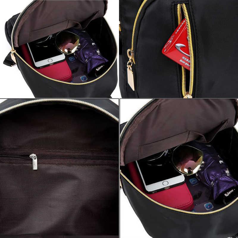 2019 女性女の子黒ナイロンミニバックパック旅行スクールバックパックショルダーバッグジッパー黒
