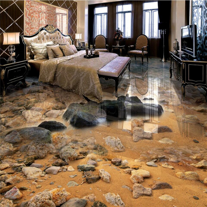 beibehang Seaside sand stone living room bathroom 3D floor painting custom large fresco pvc thick wear resistant floor cover beibehang walking cloud 3d floor tile tile customization large fresco pvc thick wear resistant floor cover papel de parede