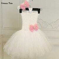 לבן טול נסיכת שמלת תינוקת יום הולדת טוטו בנות יילוד פעוטות 1 שנה תינוק שמלת טבילת הטבלה שמלת Vestidos