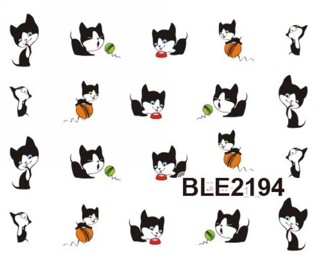 11 갑/몫/lot 워터 데칼 네일 아트 네일 스티커 검은 고양이 새끼 고양이 BLE2193-2203