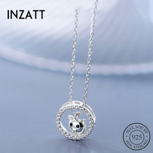 INZATT Real 925 Sterling Silver Zircon Round Cat Pendant Necklace For Fashion Women Fine Jewelry Cute Accessories 2019 Gift(China)