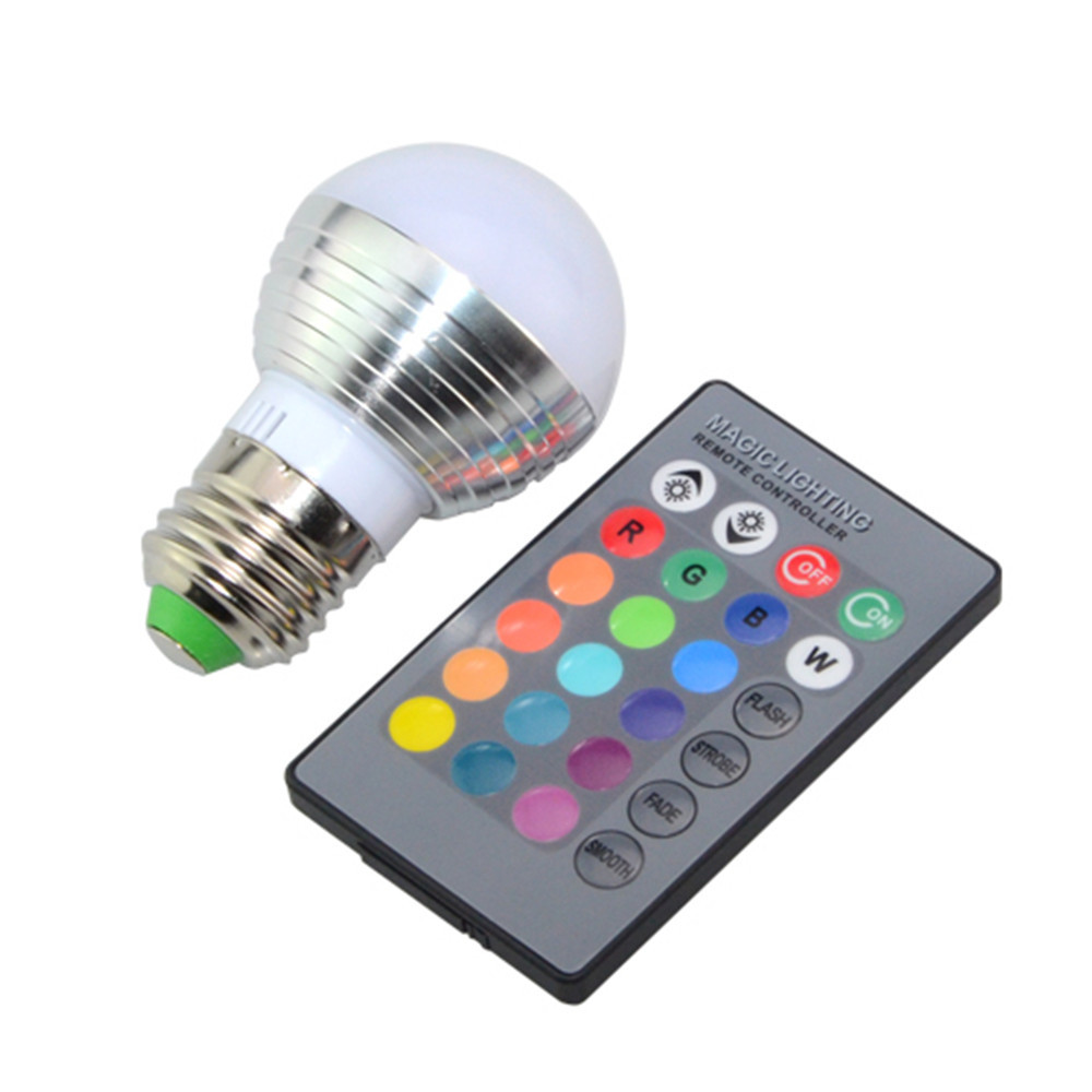 New Led Bulb E14 E27 Rgb Ac 85 265v 3w Real Power Magical Rgb Color Change With Ir Remote For