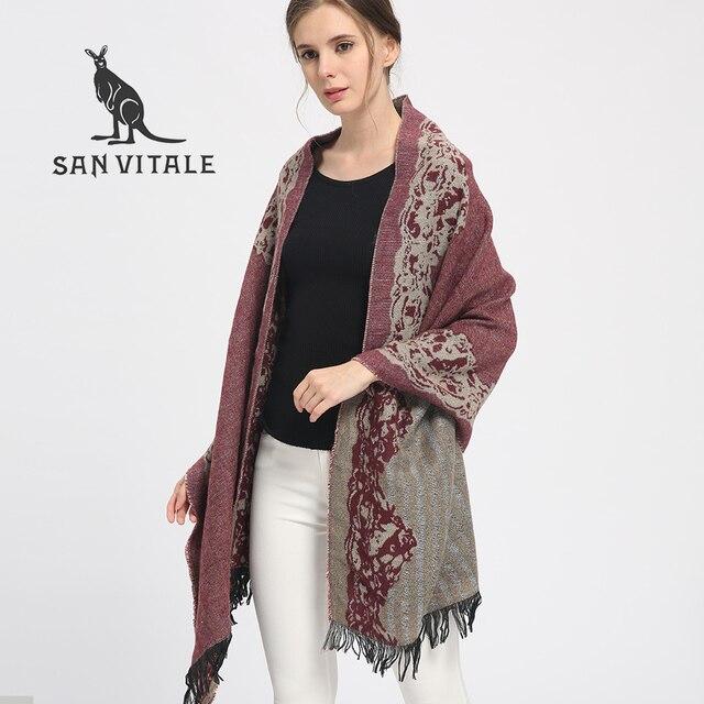 3c376d2a81eac SAN VITALE Schals für Frauen Schals Winter Warm Schal Luxury Brand Weichen  Mode Wraps Wolle Cashmere