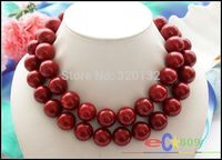 FREE SHIPPING>>>@@ > Woman's Jewellery Huge 34 14mm nature round red coral bead necklace Wholesale Silver hook &