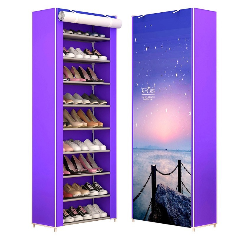 10 Layers Shoe Organizer Rack Easy to Assemble Nonwoven Storage Shoes Cabinet Minimalist Space Saver Shoe