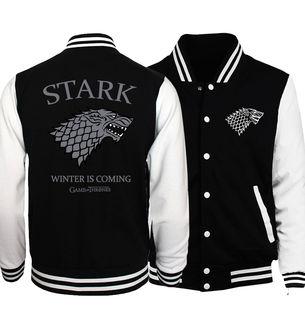 Game of Thrones Jacket Men House Stark Print Baseball Uniform Fire & Blood Jackets Mens 2018 Spring Autumn Hip Hop Sportswear