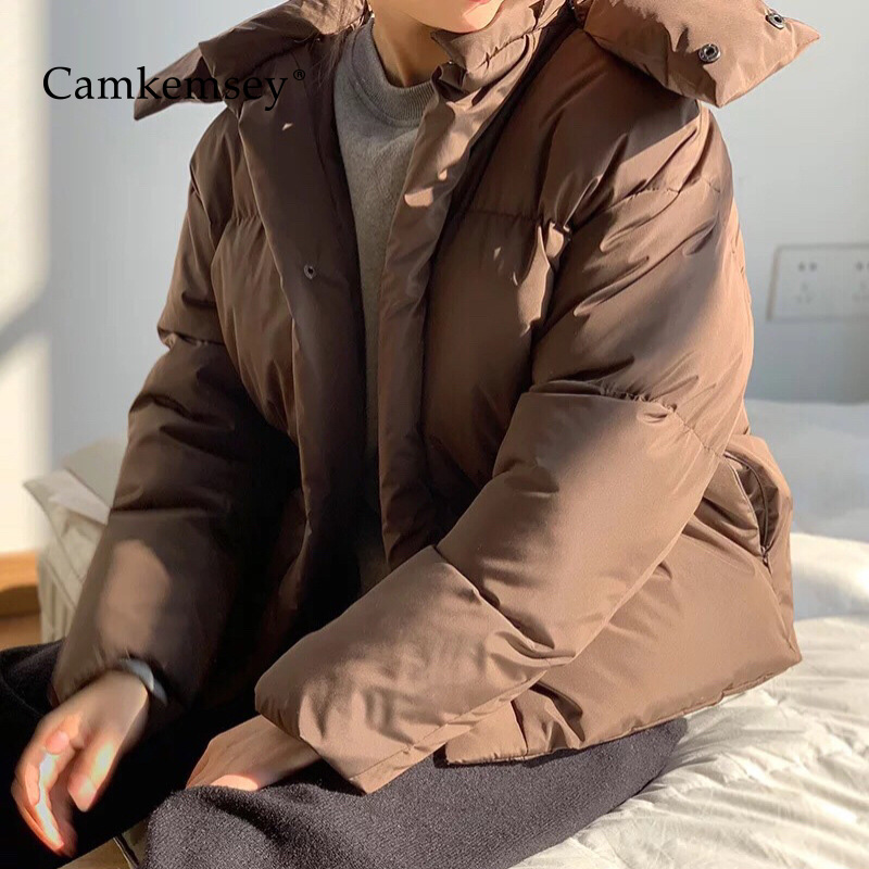 CamKemsey 2019 New Winter Coats Women Fashion Solid Thick Warm Down Cotton Padded Hooded Winter Jackets   Parkas