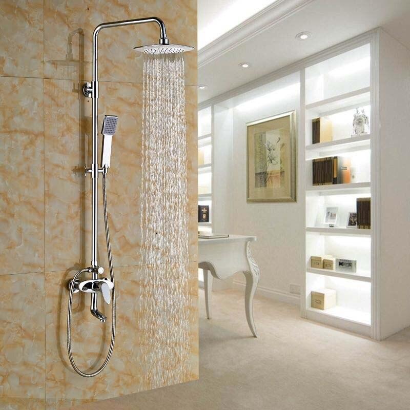 Bathroom Tub Rain Shower Faucet Set W/ 8 Shower Head +Handheld Shower Chrome Finish poiqihy chrome rain