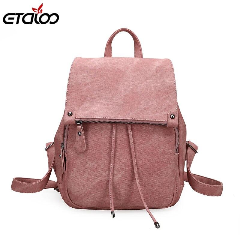 2019 College Wind Backpack Shoulder Bag PU Leather Women's Bag Fashion Ladies Backpack Mochila Escolar School Bags For Teenagers