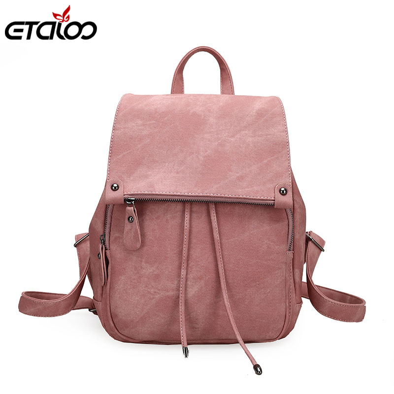 2020 College Wind Backpack Shoulder Bag PU Leather Women's Bag Fashion Ladies Backpack Mochila Escolar School Bags For Teenagers