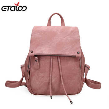 2020 College Wind Backpack Shoulder Bag PU Leather Women\'s bag fashion ladies backpack Mochila Escolar School Bags For Teenagers - DISCOUNT ITEM  52 OFF Luggage & Bags