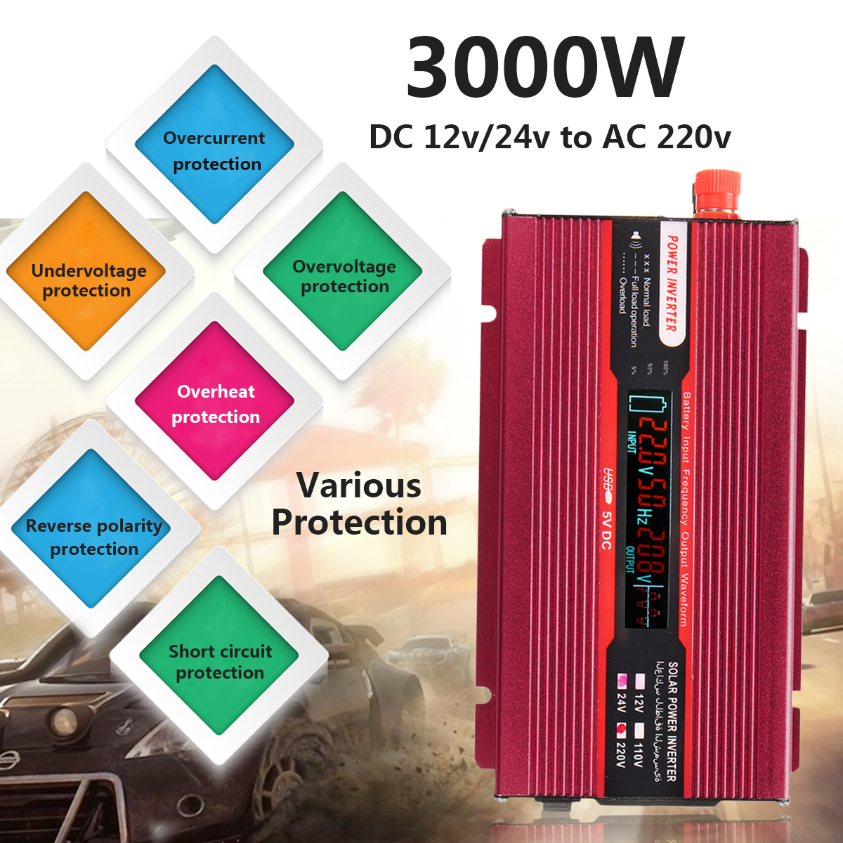 12/24V To AC 220/110V Sine Wave Converter Car Power Inverter PEAK 3000W USB Modified Low Noise Multiple Voltage Transformer 12 24v to ac 220 110v car power inverter converter peak 10000w usb modified sine wave voltage transformer universal intelligent