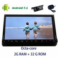 Передняя и задняя камера + 7 ''стерео 2Din Android 7.1 8 core головного устройства Авторадио бортовой компьютер GPS Навигация Авто аудио dvd плеер автомоб
