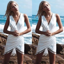New Ethnic Sexy Summer Beach Sleeveless Asymmetric Hem Party Tassel Dress