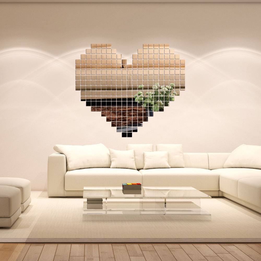 50pcs Acrylic large home decor mirror wall stickers TV background ...