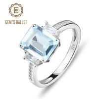 Gem S Ballet Classic Natural Sky Blue Topaz Ring Cut Solid 925 Sterling Silver Ring Set