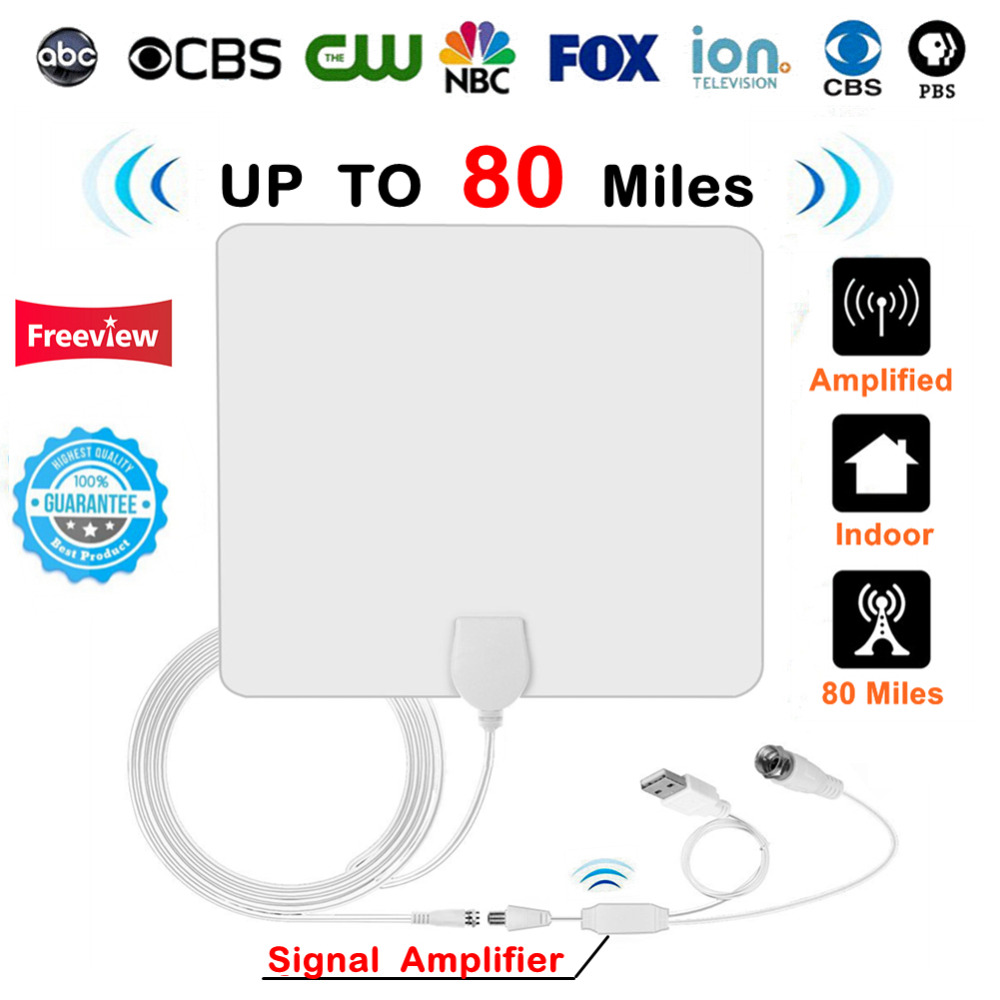 US $10 34 25% OFF|80 Miles Indoor Digital HD TV Antenna with Amplifier  Signal Booster Cable TV Surf Radius Fox Antena Freeview Antennas DVB T2  DTV-in