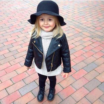 Wiosna dzieci ubrania PU Leather Girls kurtki płaszcz ubrania dzieci Outwear dla niemowląt Girls Boys Zipper Odzież Coats kostium tanie i dobre opinie Odzież wierzchnia i Płaszcze Kołnierz skrętu Stałe Unisex Moda Regularne Pasuje do rozmiaru Weź swój normalny rozmiar