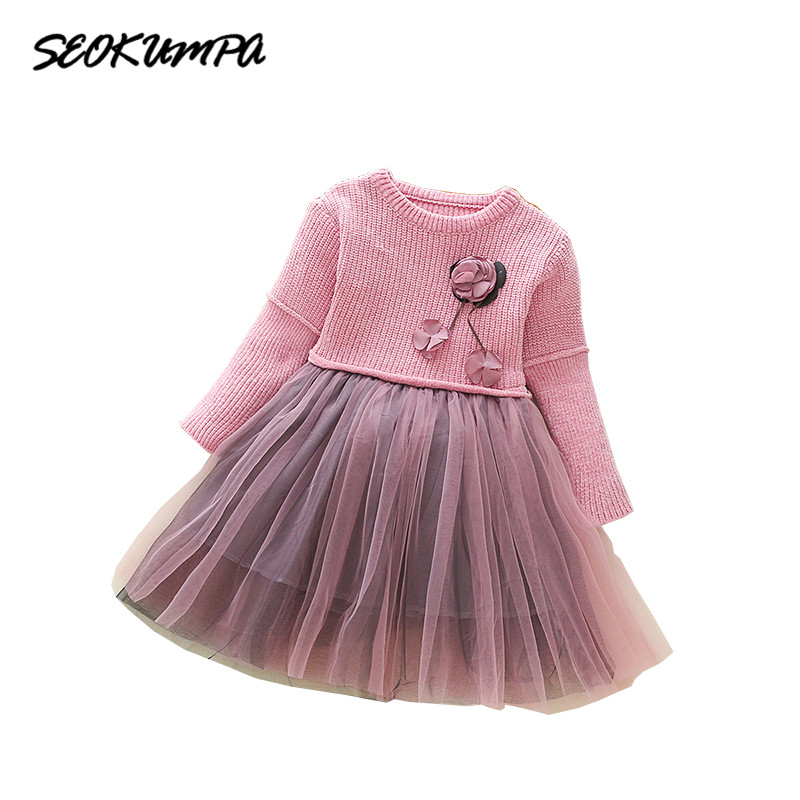 Girl Dress Long Sleeve Girl Knit Sweater For Winter Girl Dress Party Princess Dress Children's Clothing 3 4 5 6 8 9 Years Old