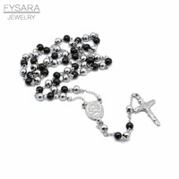 New Catholic Cross Pendant Goddess Silver Plated Trendy Black Beads Long Rosary Necklace For Men Jewelry