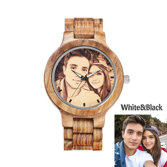 ebd06d9e8 Custom Watches Faces Natural Wooden Watch Private Label LOGO Picture  Personalized Bamboo Handmade Design Quartz Women Men Gift